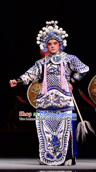 Dan Dao Hui Chinese Sichuan Opera Young Male Apparels Costumes and Headpieces Peking Opera Highlights General Guan Ping Garment Armor Clothing