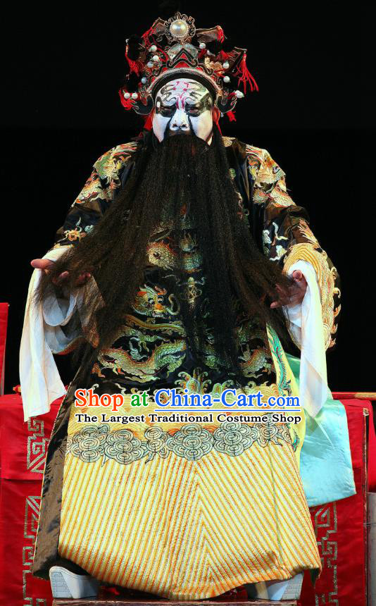Ji Xin Kuang Chu Chinese Sichuan Opera King Xiang Yu Apparels Costumes and Headpieces Peking Opera Highlights Lord Garment Emperor Clothing