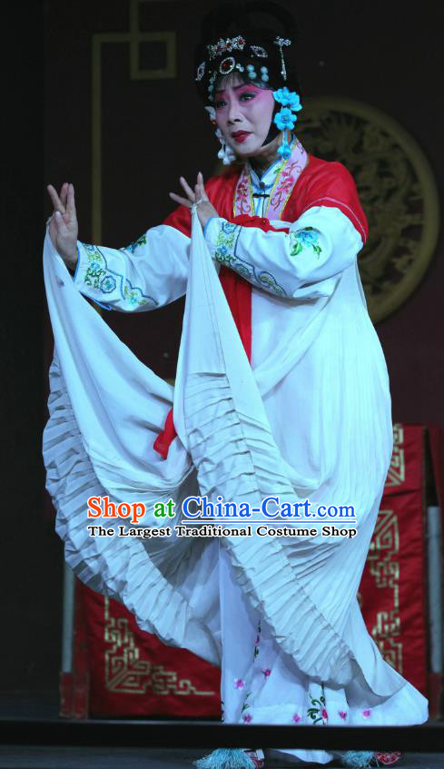 Chinese Sichuan Opera Highlights Diva Zhao Jingniang Garment Costumes and Headdress Farewell Jing Niang Traditional Peking Opera Actress Dress Young Female Apparels