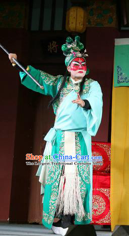 Farewell Jing Niang Chinese Sichuan Opera Wusheng Apparels Costumes and Headpieces Peking Opera Highlights Swordsman Zhao Kuangyin Garment Clothing