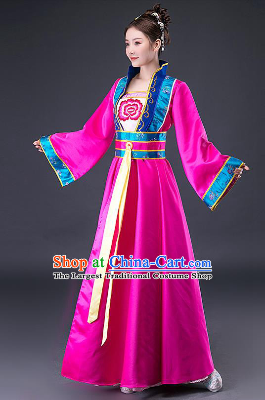 Chinese Ming Dynasty Maid Lady Rosy Hanfu Dress Traditional Apparels Ancient Drama Servant Girl Historical Costumes for Women