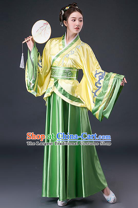 Chinese Han Dynasty Young Woman Hanfu Dress Traditional Apparels Ancient Drama Royal Princess Historical Costumes Complete Set