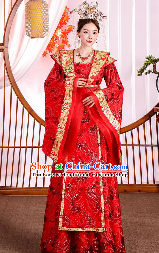Traditional Chinese Ancient Drama Royal Princess Red Hanfu Dress Apparels Tang Dynasty Court Queen Historical Costumes