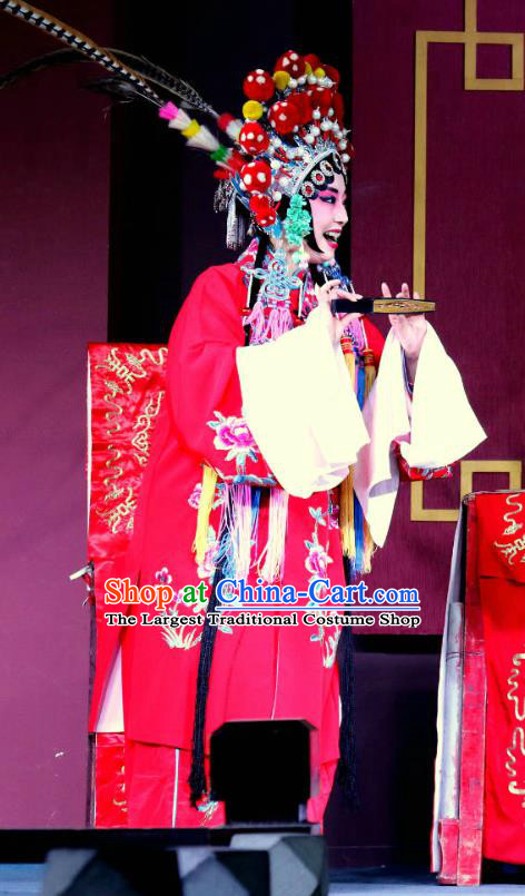 Chinese Sichuan Opera Highlights Hua Tan Garment Costumes and Headdress Zhan Ying Long Traditional Peking Opera Actress Fan Lihua Red Dress Apparels