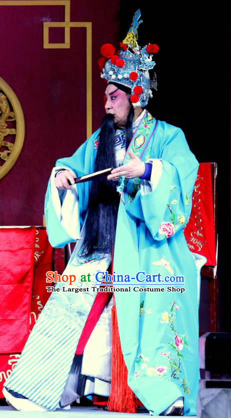 Zhan Ying Long Chinese Sichuan Opera Laosheng Apparels Costumes and Headpieces Peking Opera Highlights Martial Male Garment General Xue Dingshan Clothing
