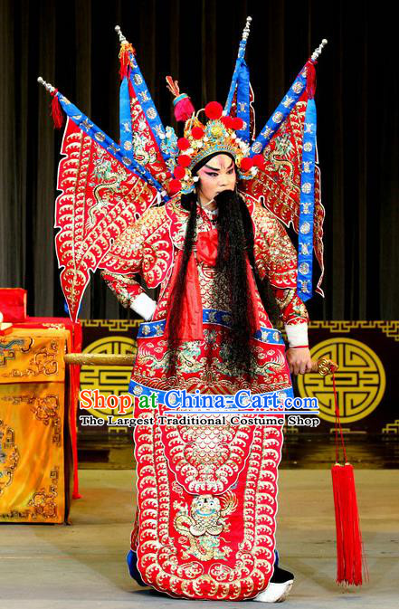 Zhan Huang Pao Chinese Sichuan Opera General Red Kao Apparels Costumes and Headpieces Peking Opera Highlights Military Officer Garment Zheng Ziming Clothing with Flags