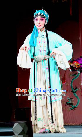 Chinese Sichuan Highlights Opera Diva Xi Yuchan Garment Costumes and Headdress Jin Dian Jing Song Traditional Peking Opera Hua Tan Dress Actress Blue Apparels