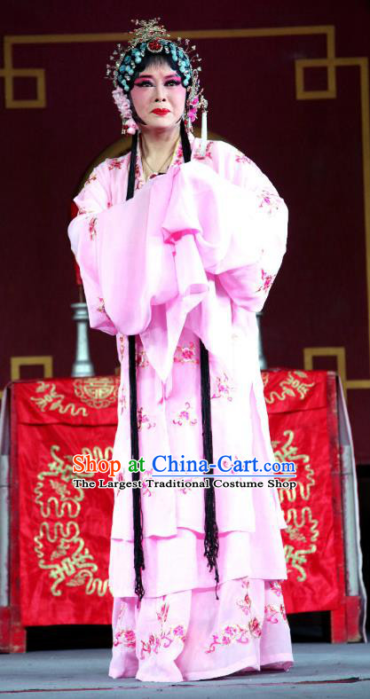Chinese Sichuan Highlights Opera Young Mistress Garment Costumes and Headdress Traditional Peking Opera Hua Tan Pink Dress Diva Lin Ying Apparels
