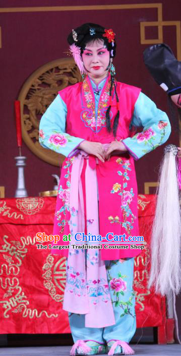 Chinese Sichuan Highlights Opera Maidservant Garment Costumes and Headdress Traditional Peking Opera Young Lady Dress Xiaodan Apparels