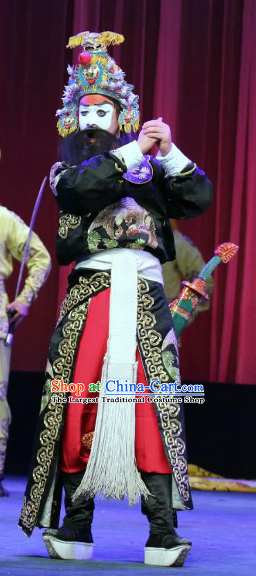Bai Mian Hu Xiao Fang Chinese Sichuan Opera Wusheng Wang Shiqi Apparels Costumes and Headpieces Peking Opera Highlights Martial Male Garment Clothing