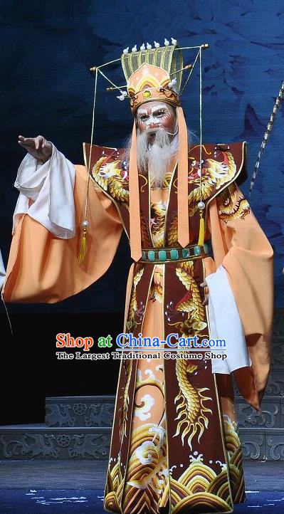 Princess Turandot Chinese Sichuan Opera Elderly Male Apparels Costumes and Headpieces Peking Opera Highlights Garment Emperor Clothing