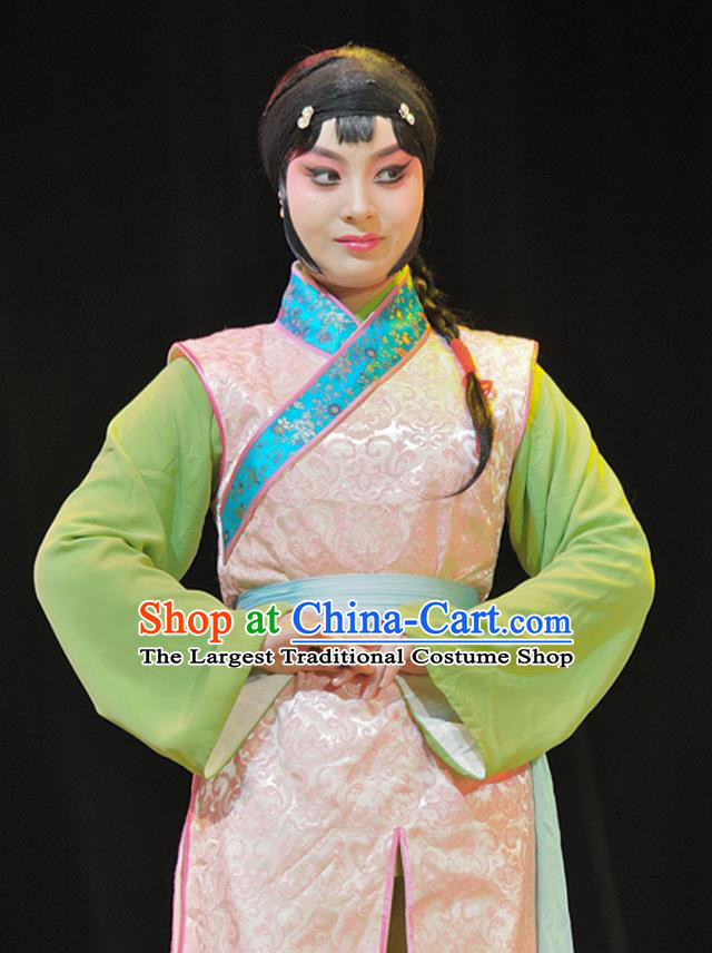 Chinese Sichuan Highlights Opera Maid Lady Garment Costumes and Headdress Legend of Chen Mapo Traditional Peking Opera Servant Girl Dress Apparels