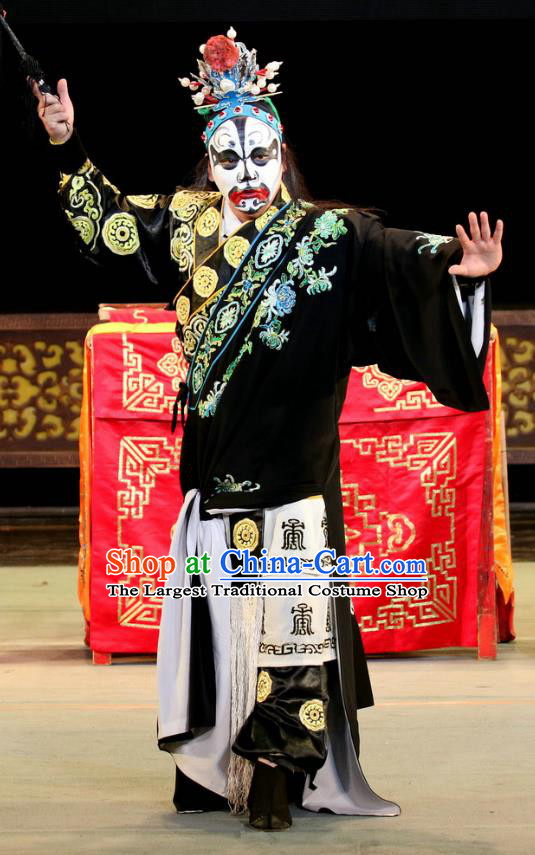 Bai Shou Tu Chinese Sichuan Opera Wusheng Xue Gang Apparels Costumes and Headpieces Peking Opera Highlights Swordsman Garment Martial Male Clothing