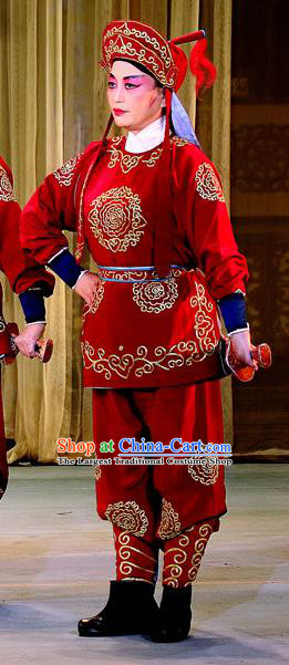 Bai Shou Tu Chinese Sichuan Opera Soldier Apparels Costumes and Headpieces Peking Opera Highlights Martial Male Garment Takefu Clothing