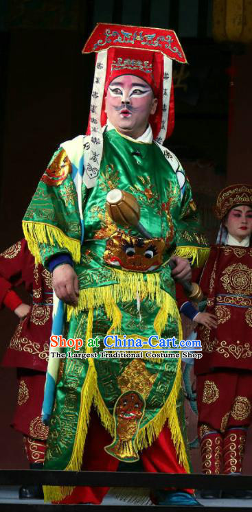 Zhan Ying Long Chinese Sichuan Opera Wusheng Apparels Costumes and Headpieces Peking Opera Highlights Martial Male Garment Swordsman Green Clothing