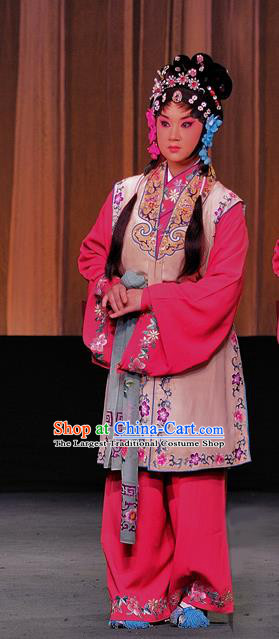 Chinese Sichuan Highlights Opera Young Lady Garment Costumes and Headdress The Romance of Hairpin Traditional Peking Opera Servant Girl Dress Actress Apparels