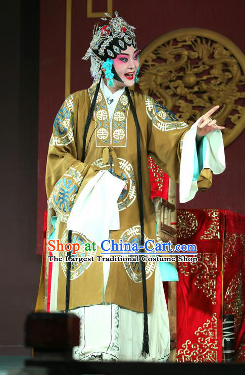 Chinese Sichuan Opera Highlights Pantaloon Garment Costumes and Headdress Hu Lian Nao Chai Traditional Peking Opera Elderly Female Dress Rich Dame Apparels
