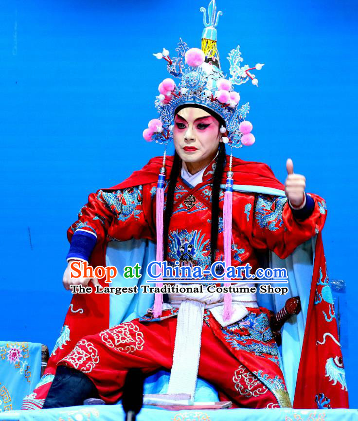 Xian He Ridge Chinese Sichuan Opera Martial Male Apparels Costumes and Headpieces Peking Opera Highlights Takefu Garment Swordsman Zuo Liangyu Clothing