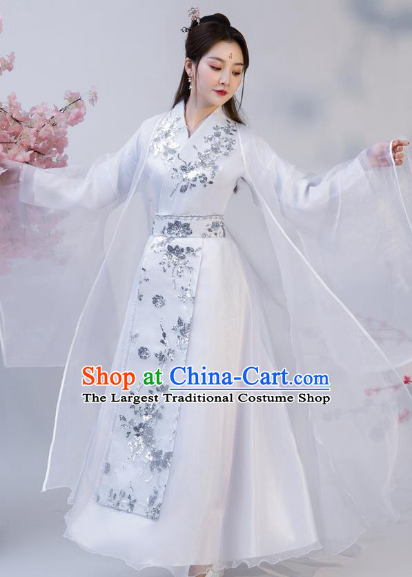 Chinese Ancient Drama Female Swordsman White Hanfu Dress Apparels Traditional Ming Dynasty Heroine Historical Costumes for Women