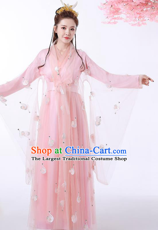 Chinese Ancient Drama Goddess Pink Hanfu Dress Apparels Traditional Ming Dynasty Female Swordsman Historical Costumes
