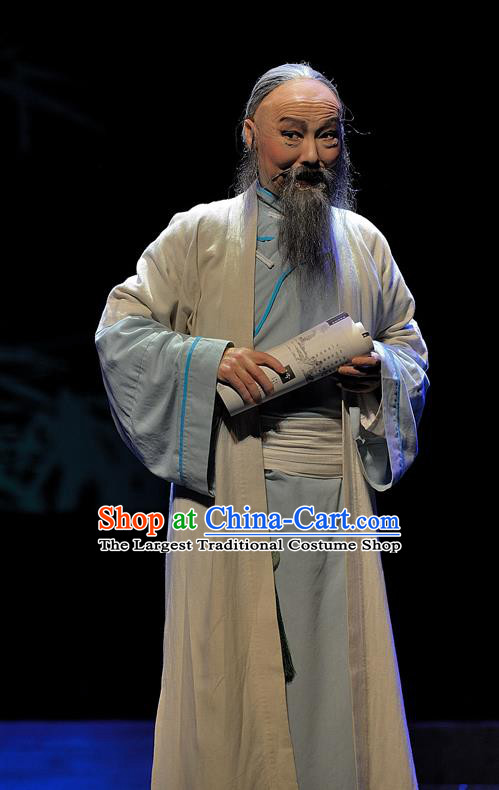 Gua Yin Zhi Xian Chinese Sichuan Opera Old Man Apparels Costumes and Headpieces Peking Opera Highlights Elderly Scholar Yu Bingyuan Garment Laosheng Clothing