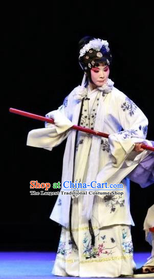 Chinese Sichuan Highlights Opera Distress Maiden Garment Costumes and Headdress Mei Nv Traditional Peking Opera Actress Mei Qiuyun Dress Tsing Yi Apparels