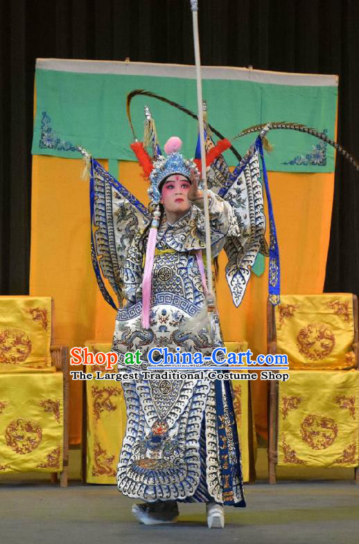 Chinese Sichuan Opera General Kao Apparels Costumes and Headpieces Peking Opera Highlights Military Officer Garment Armor Clothing with Flags