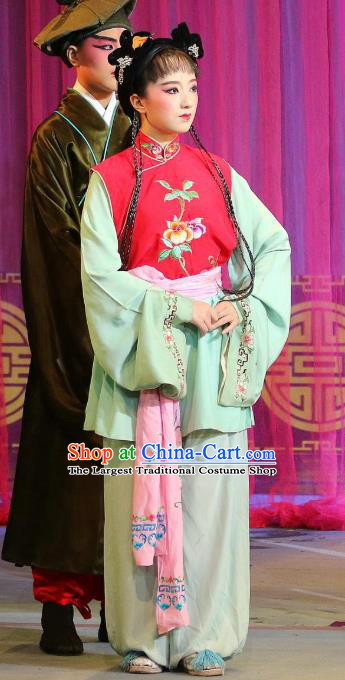 Chinese Sichuan Highlights Opera Xiaodan Xiao Ju Garment Costumes and Headdress Hua Wenfang Qiang Qin Traditional Peking Opera Young Lady Dress Maidservant Apparels