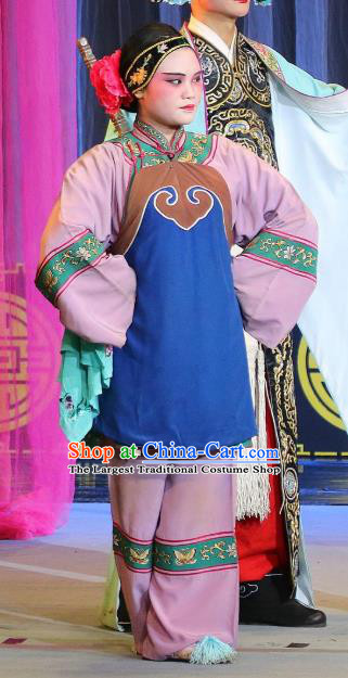 Chinese Sichuan Highlights Opera Old Female Garment Costumes and Headdress Hua Wenfang Qiang Qin Traditional Peking Opera Dame Dress Woman Matchmaker Apparels