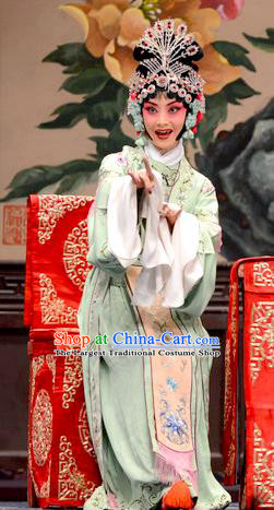 Chinese Hebei Clapper Opera Hua Tan Liang Fengying Garment Costumes and Headdress He Feng Qun Traditional Bangzi Opera Actress Dress Rich Lady Apparels