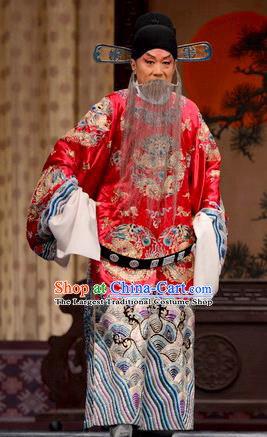 He Feng Qun Chinese Bangzi Opera Prime Minister Liang Que Apparels Costumes and Headpieces Traditional Hebei Clapper Laosheng Garment Elderly Male Clothing
