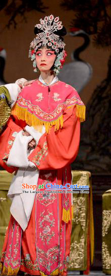 Chinese Hebei Clapper Opera Diva Liang Fengying Garment Costumes and Headdress He Feng Qun Traditional Bangzi Opera Young Lady Rosy Dress Actress Apparels