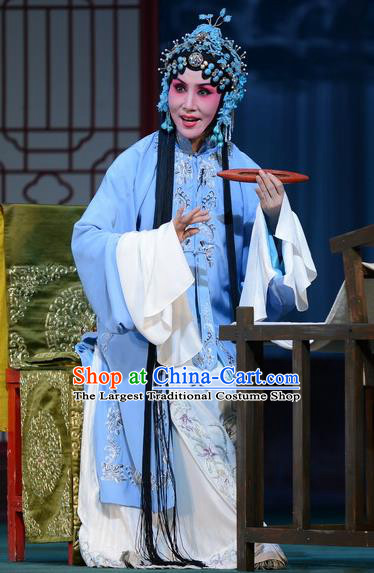 Chinese Hebei Clapper Opera Young Mistress Liu Lanzhi Garment Costumes and Headdress Traditional Bangzi Opera Actress Dress Diva Apparels