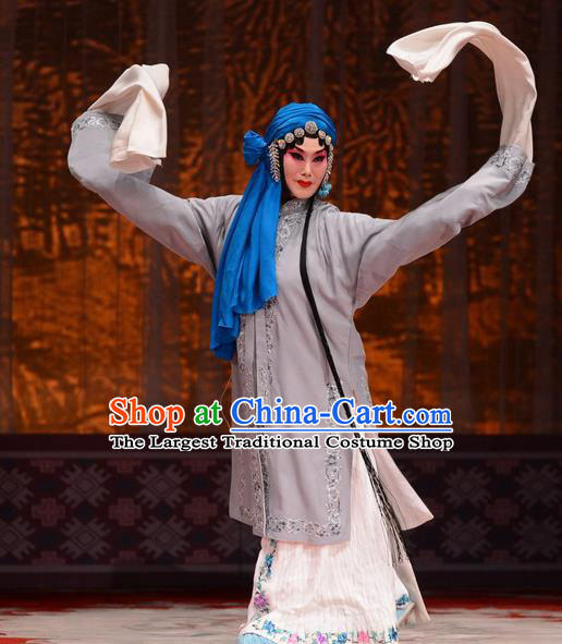 Chinese Hebei Clapper Opera Distress Maiden Garment Costumes and Headdress Chun Qiu Pei Traditional Bangzi Opera Actress Jiang Qiulian Dress Tsing Yi Apparels