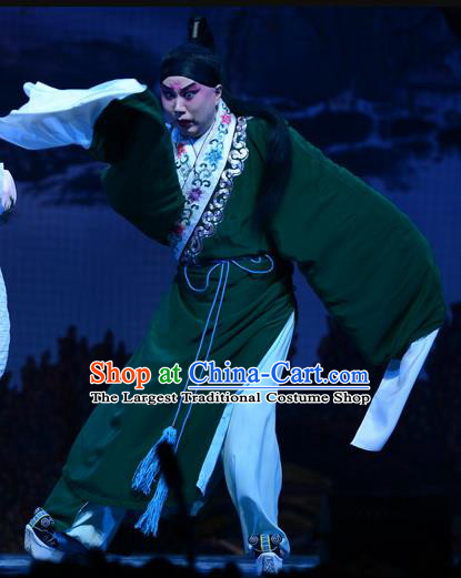 Liu Lanzhi Chinese Bangzi Opera Distress Male Jiao Zhongqing Apparels Costumes and Headpieces Traditional Hebei Clapper Xiaosheng Garment Scholar Green Clothing