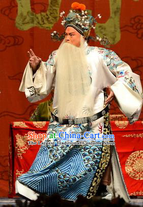 Wang Baochuan Chinese Bangzi Opera Laosheng Apparels Costumes and Headpieces Traditional Hebei Clapper Opera Elderly Male Garment Prime Minister Wang Yun Clothing