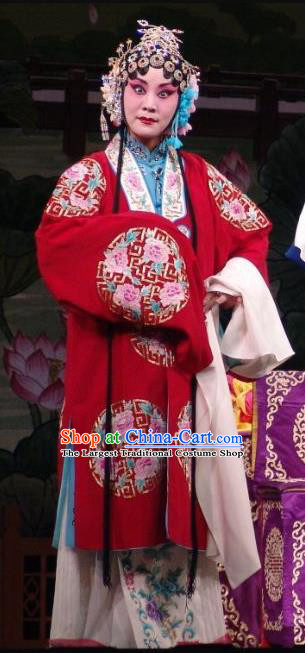 Chinese Hebei Clapper Opera Diva Garment Costumes and Headdress Wang Baochuan Traditional Bangzi Opera Imperial Empress Dress Hua Tan Apparels