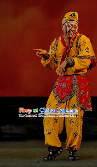The Mountain of Fire Chinese Sichuan Opera Sun Wukong Apparels Costumes and Headpieces Peking Opera Highlights Monkey King Garment Monk Clothing