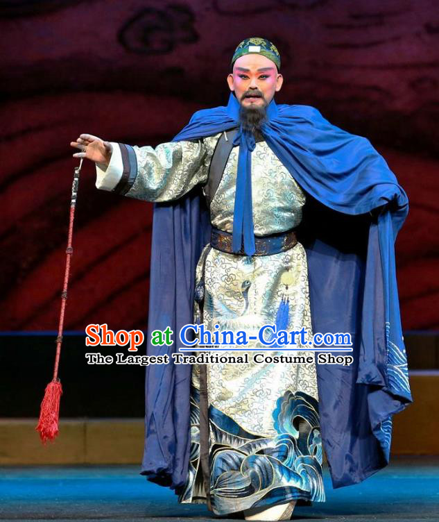 Cang Sheng Zai Shang Chinese Sichuan Opera Elderly Man Apparels Costumes and Headpieces Peking Opera Highlights Official Garment Laosheng Zhang Penghe Clothing