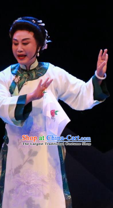 Chinese Sichuan Highlights Opera Madam Garment Costumes and Headdress Cao Xie Xian Ling Traditional Peking Opera Dame Dress Apparels