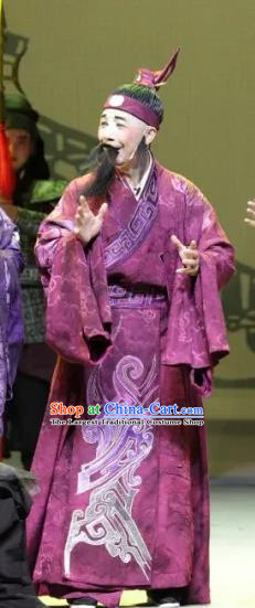 Luo Xiahong Chinese Sichuan Opera Chou Role Apparels Costumes and Headpieces Peking Opera Highlights Clown Garment Wine Red Clothing