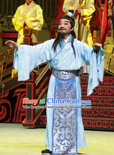 Luo Xiahong Chinese Sichuan Opera Astronomer Apparels Costumes and Headpieces Peking Opera Highlights Scholar Garment Blue Clothing