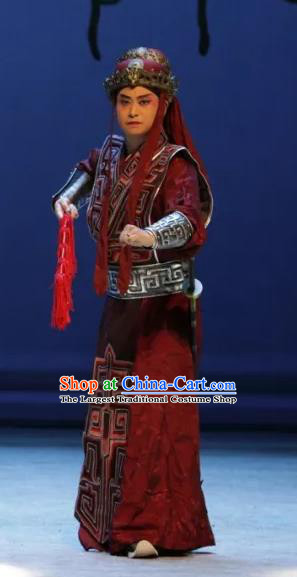 Luo Xiahong Chinese Sichuan Opera Swordsman Apparels Costumes and Headpieces Peking Opera Highlights Wusheng Garment Soldier Armor Clothing