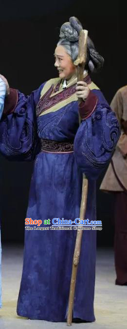 Chinese Sichuan Highlights Opera Pantaloon Garment Costumes and Headdress Luo Xiahong Traditional Peking Opera Laodan Dress Elderly Female Apparels