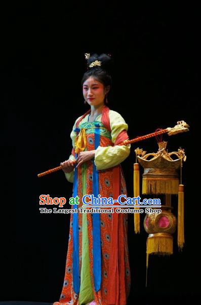 Chinese Sichuan Highlights Opera Court Maid Garment Costumes and Headdress Shi Jiu Taibai Traditional Peking Opera Actress Dress Palace Lady Apparels