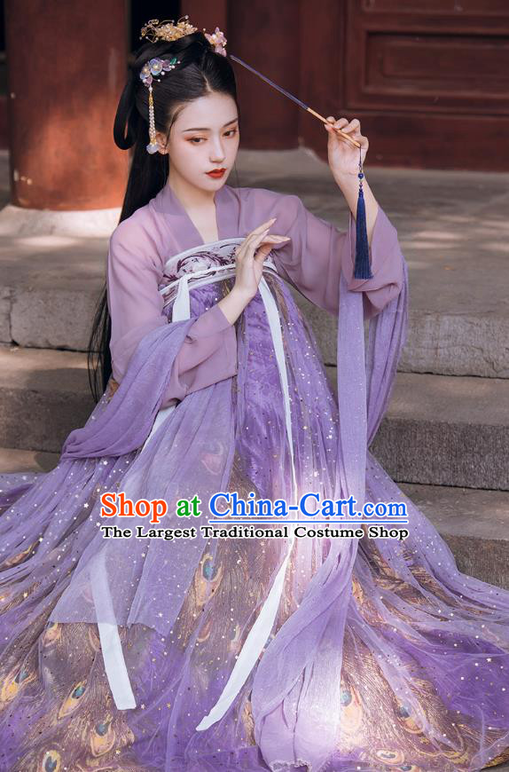 Traditional Chinese Tang Dynasty Court Infanta Historical Costumes Ancient Apparels Princess Goddess Lilac Hanfu Dress for Women