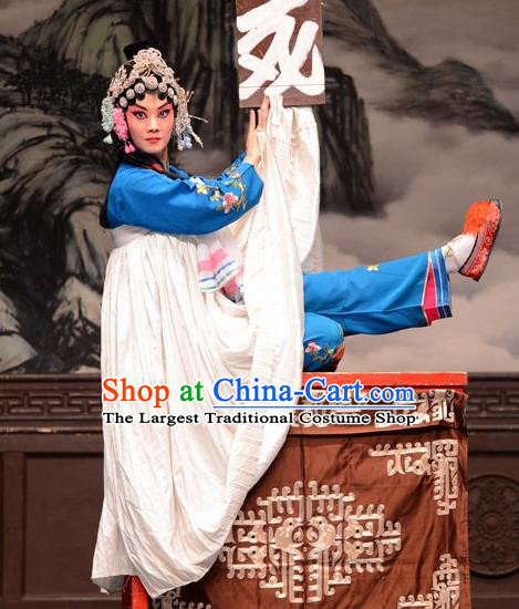 Chinese Hebei Clapper Opera Distress Maiden Garment Costumes and Headdress Sheng Si Pai Traditional Bangzi Opera Hua Tan Dress Diva Huang Xiulan Apparels
