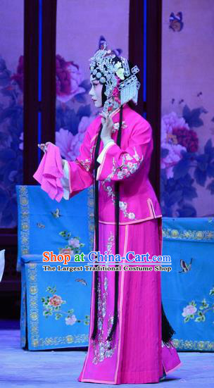 Chinese Hebei Clapper Opera Diva Garment Costumes and Headdress Zhen Zhu Shan Traditional Bangzi Opera Hua Tan Rosy Dress Young Lady Apparels