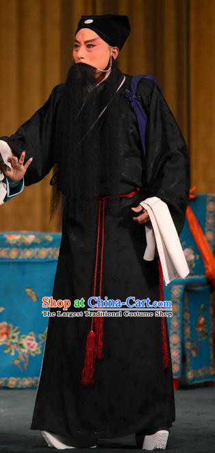 Dou E Yuan Chinese Bangzi Opera Elderly Male Apparels Costumes and Headpieces Traditional Hebei Clapper Opera Laosheng Garment Sai Luyi Clothing