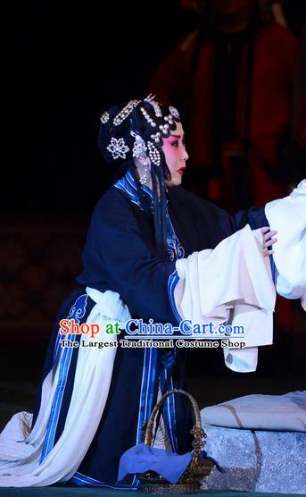 Chinese Hebei Clapper Opera Tsing Yi Garment Costumes and Headdress Dou E Yuan Traditional Bangzi Opera Distress Maiden Dress Actress Apparels